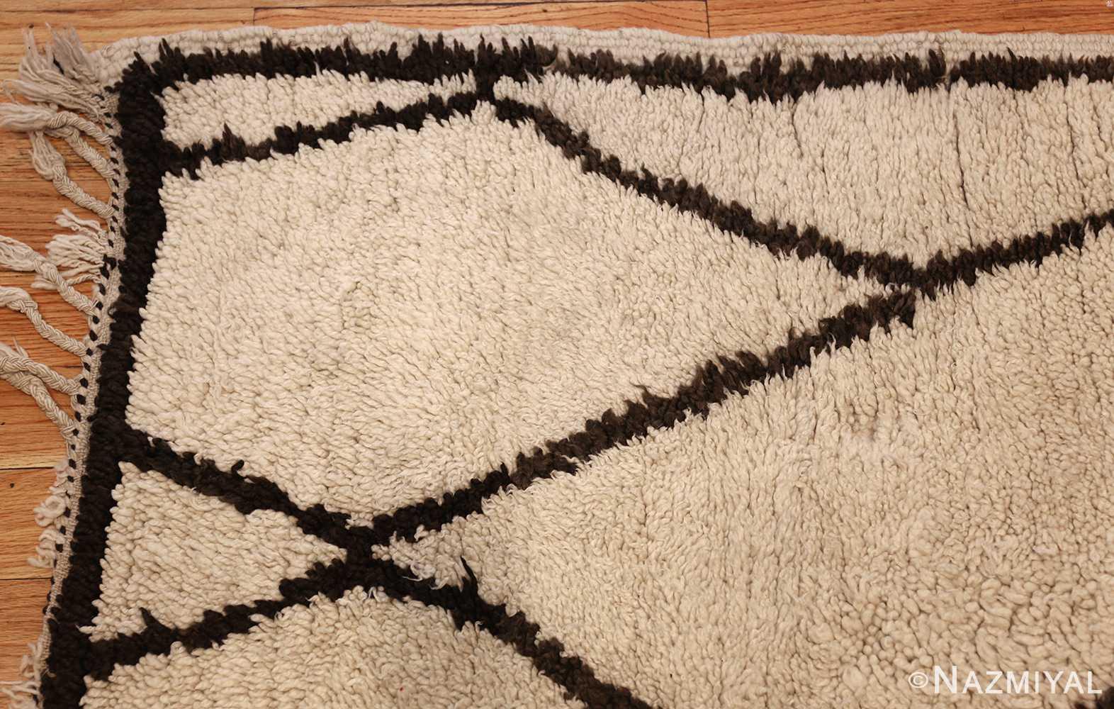 ivory and brown beni ourain rug morocco 47933 corner Nazmiyal
