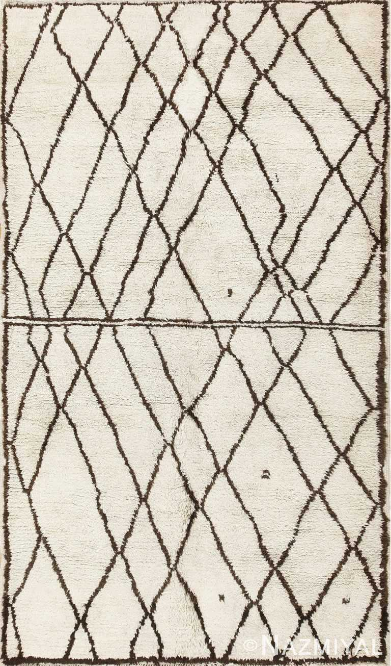 Ivory and Brown Beni Ourain Rug Morocco 47933 Detail/Large View