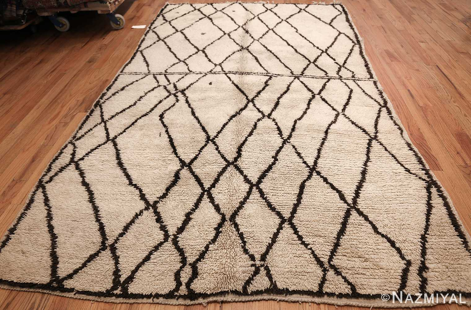 ivory and brown beni ourain rug morocco 47933 whole Nazmiyal