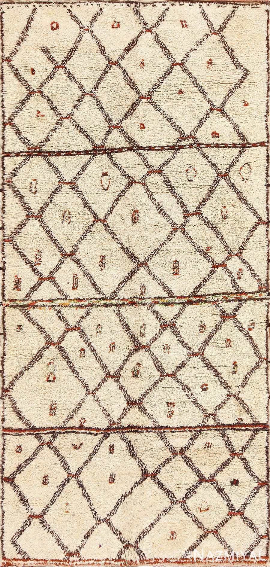 Ivory Vintage Moroccan Rug 47931 from Nazmiyal Antique Rugs in NYC