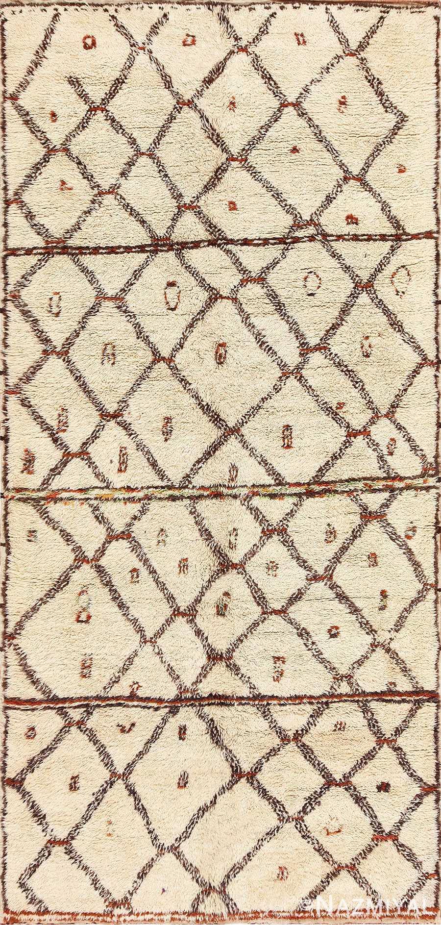 Ivory Vintage Moroccan Rug 47931 Detail/Large View