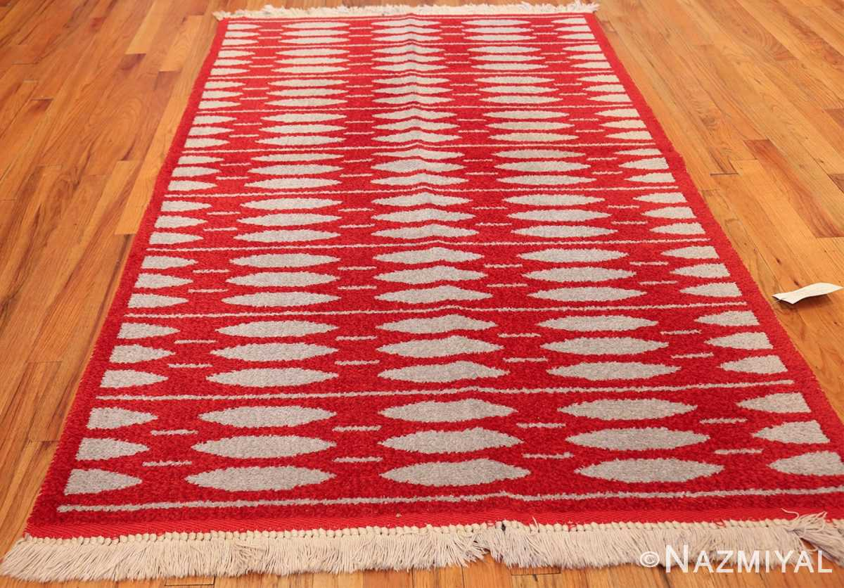 mid century vintage double sided swedish rug 47788 dark Nazmiyal