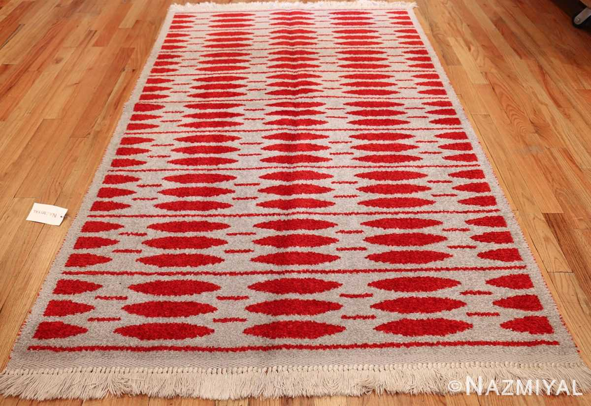 mid century vintage double sided swedish rug 47788 light Nazmiyal