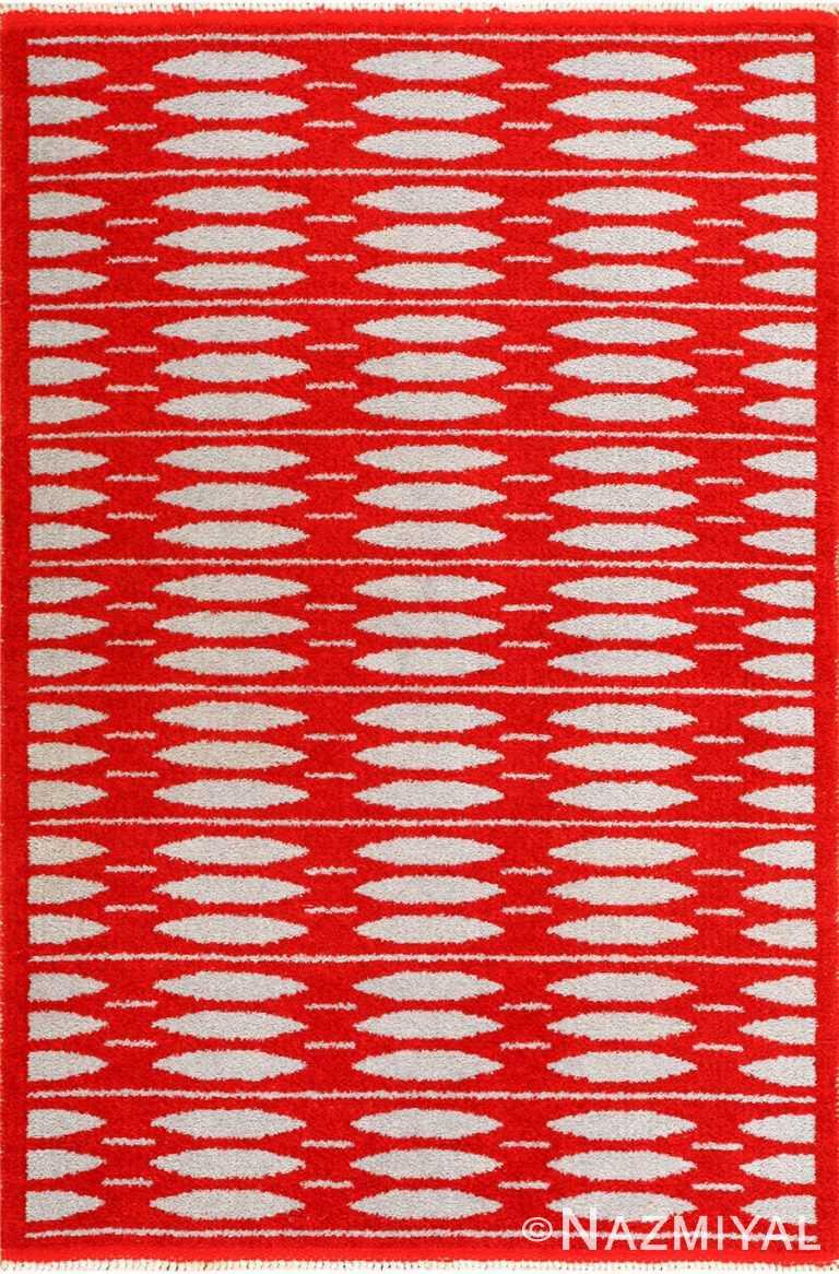 mid century vintage double sided swedish rug 47788 Nazmiyal