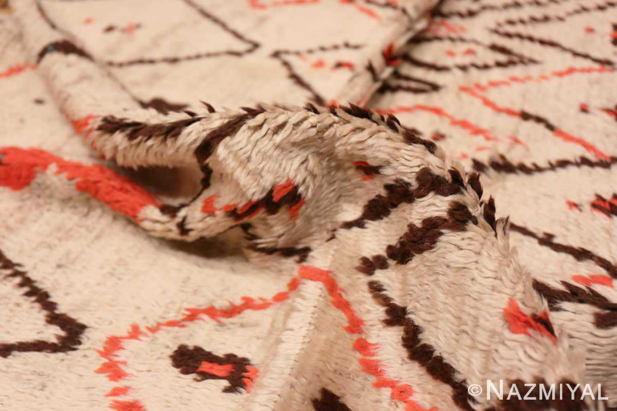 Pile Rare White and Red Vintage Moroccan carpet 47954 by Nazmiyal