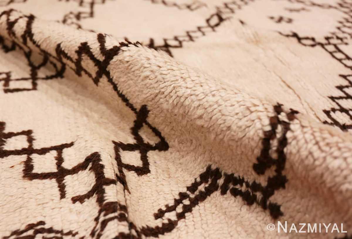Pile Vintage Ivory and Brown Moroccan rug 47953 by Nazmiyal