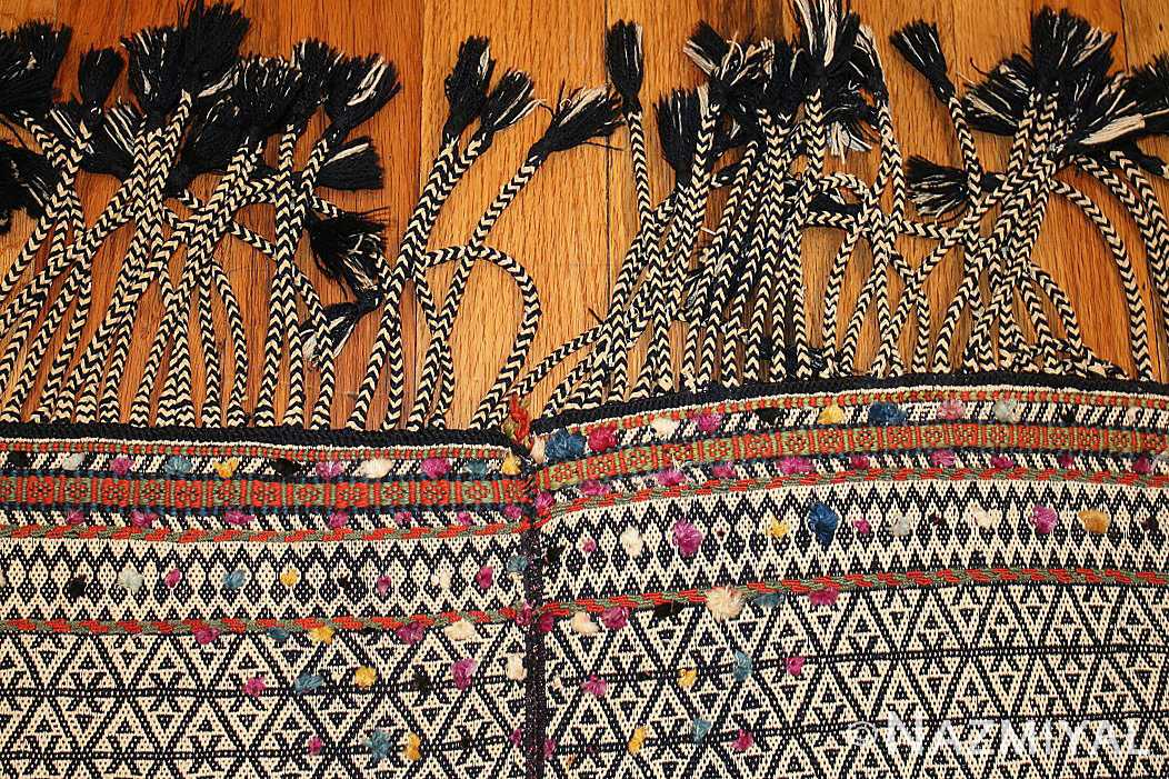rare antique persian qashqai horse cover 47879 fringes Nazmiyal