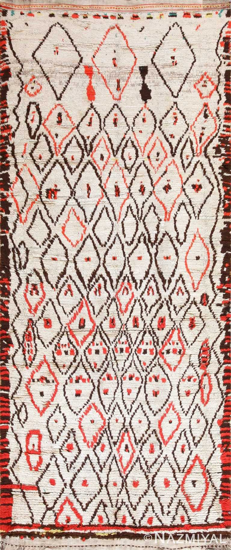 Rare White and Red Vintage Moroccan Carpet 47954 Nazmiyal
