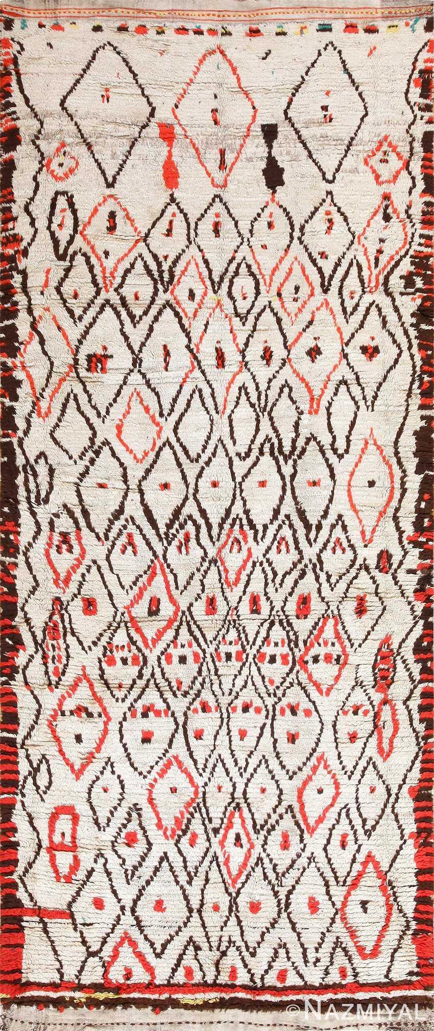 Rare White and Red Vintage Moroccan Carpet 47954 Nazmiyal