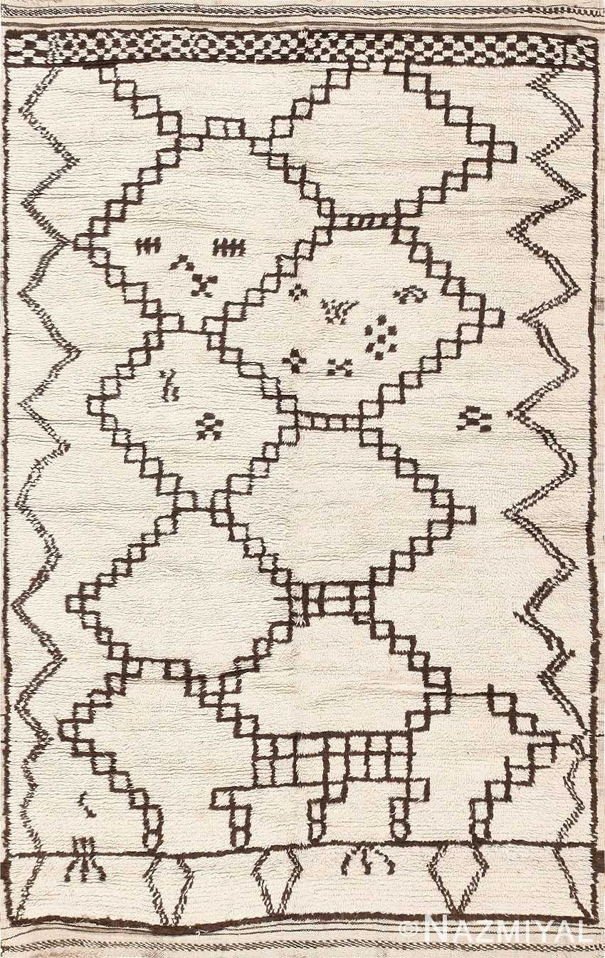 Vintage Ivory and Brown Moroccan Rug 47953 Detail/Large View