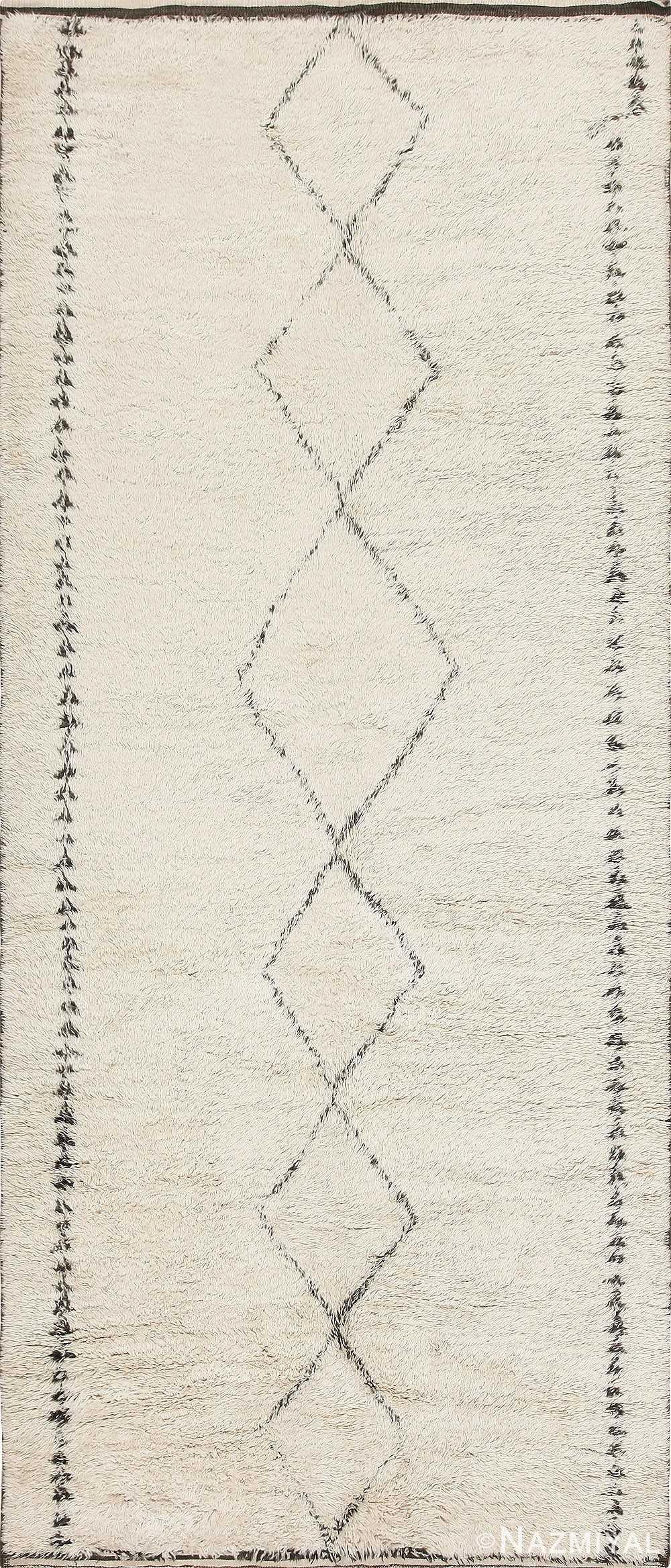 Ivory and Black Vintage Moroccan Beni Ourain Shag Rug 47891 Nazmiyal