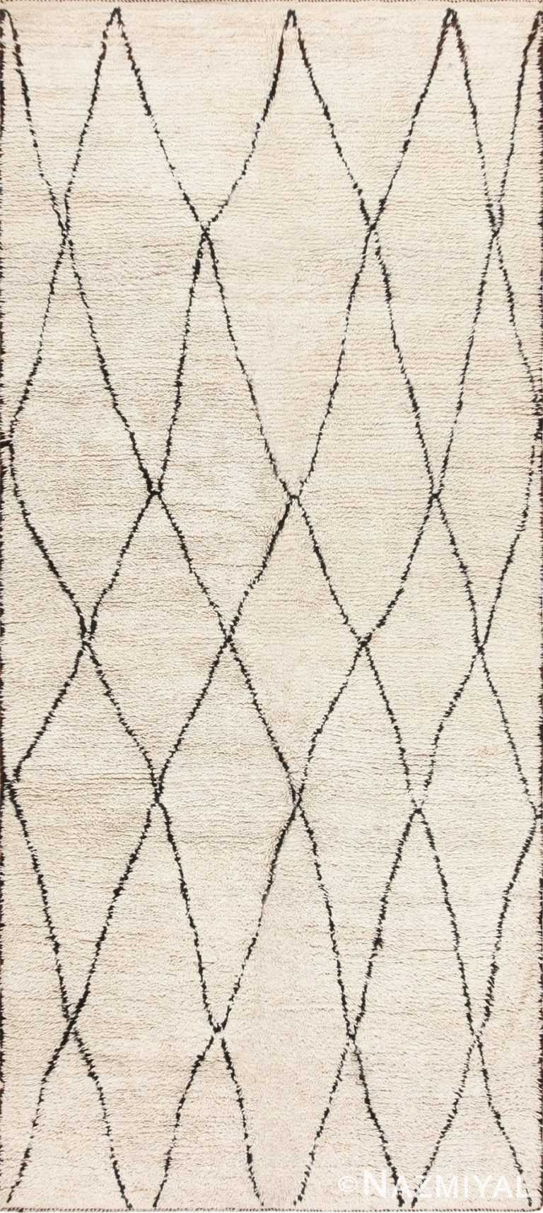 Cream and Black Vintage Moroccan Beni Ourain Carpet 47928 Nazmiyal