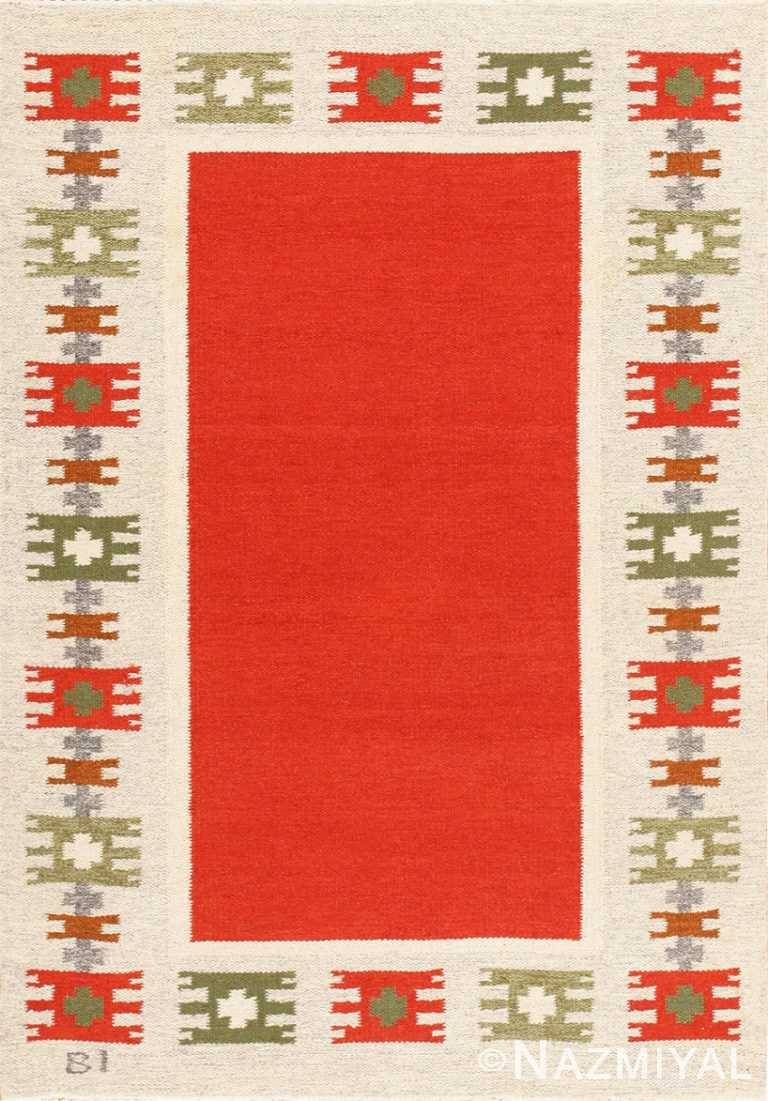 Vintage Swedish Scandinavian Rug 47787 Detail/Large View