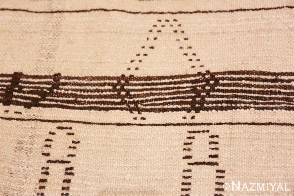Weave detail Vintage Ivory and Brown Moroccan rug 47953 by Nazmiyal