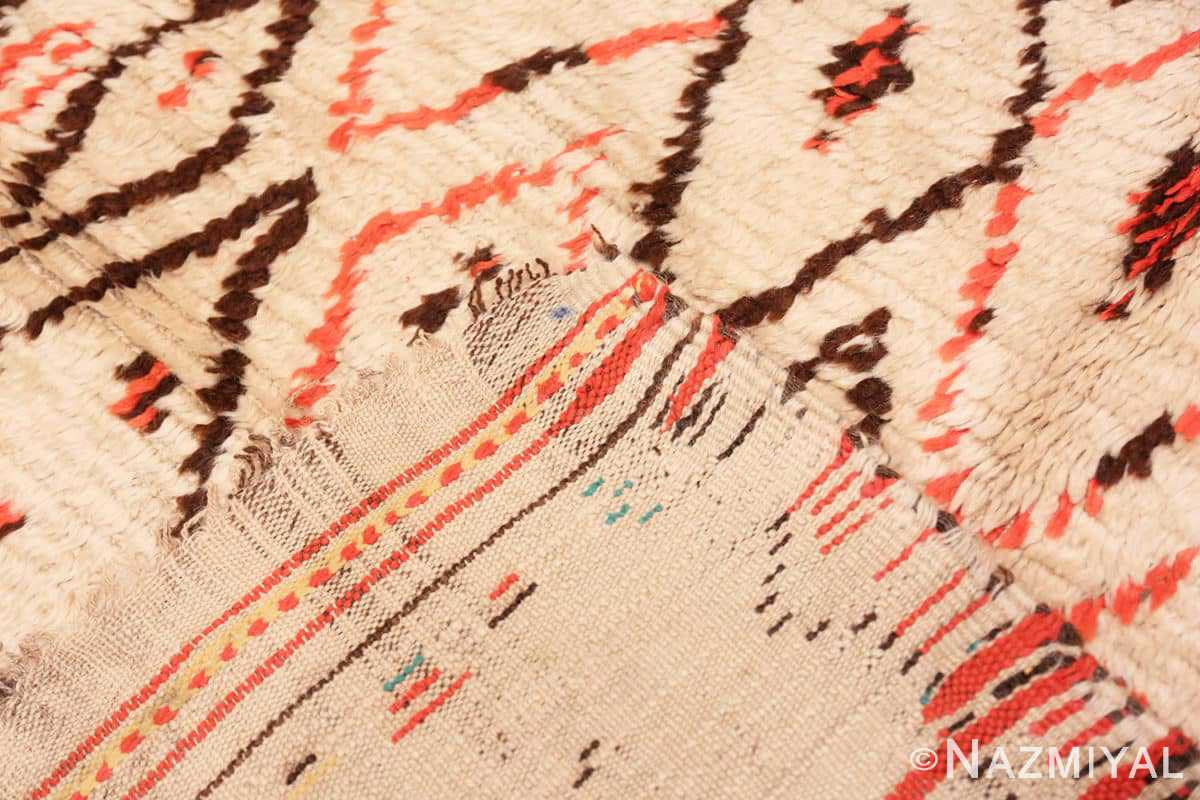 Weave Rare White and Red Vintage Moroccan carpet 47954 by Nazmiyal