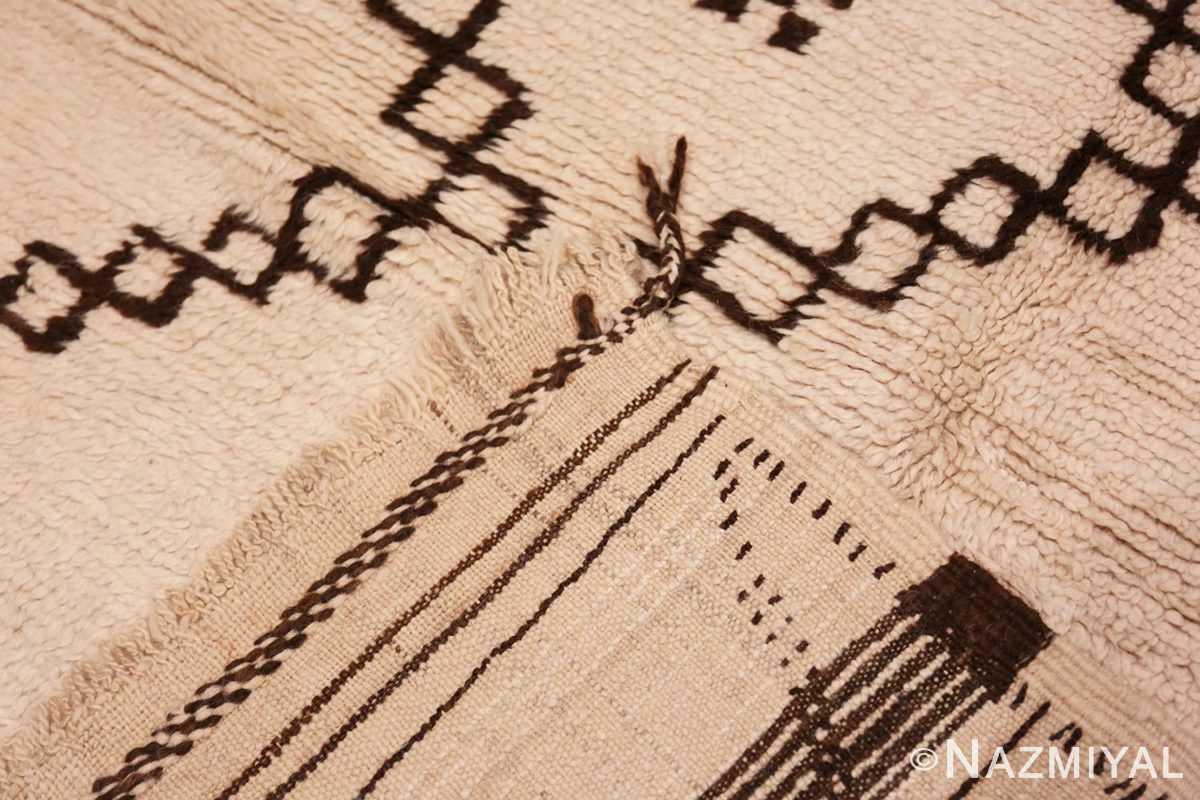 Weave Vintage Ivory and Brown Moroccan rug 47953 by Nazmiyal