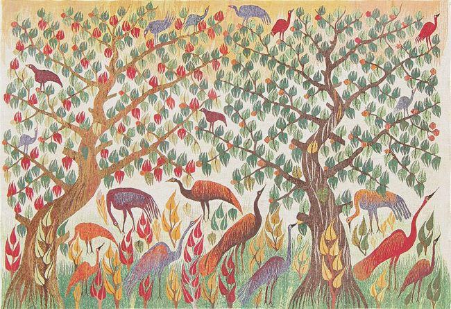 Animal Garden Design Vintage Swedish Tapestries by Nazmiyal