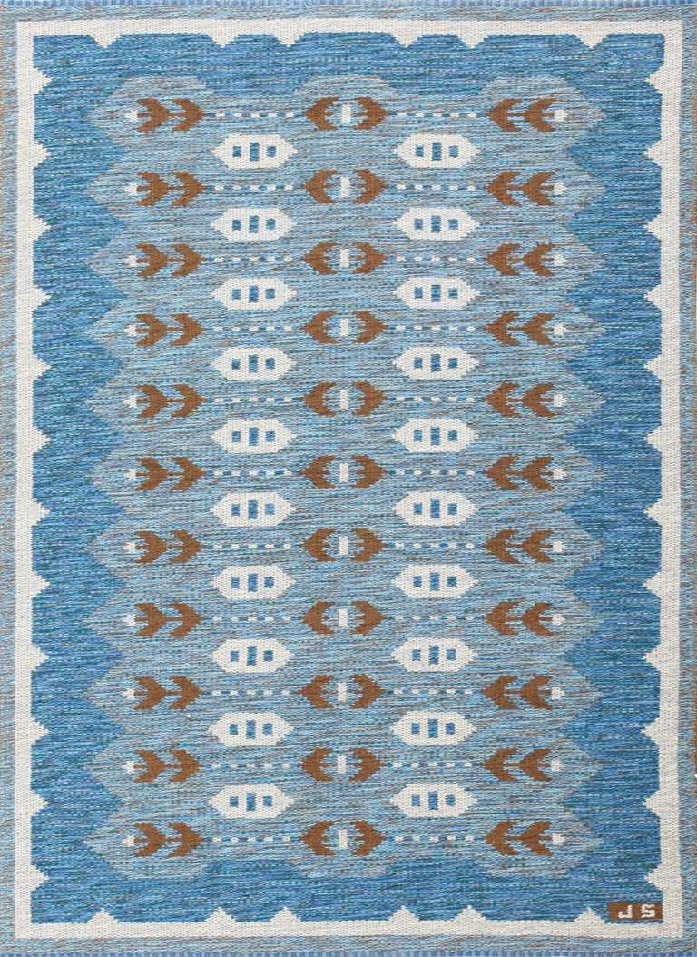 vintage swedish double sided rug 48008 Nazmiyal
