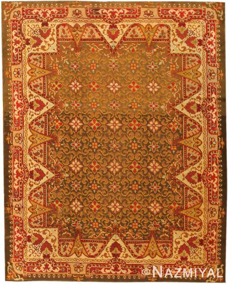 Antique Green Background Irish Rug #1285 by Nazmiyal Antique Rugs