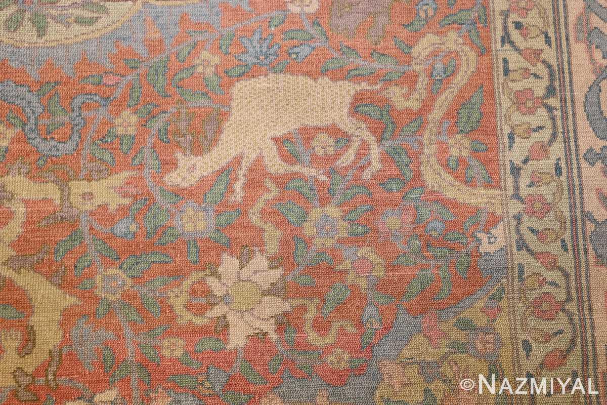 antique israeli bezalel rug 47463 closeup Nazmiyal