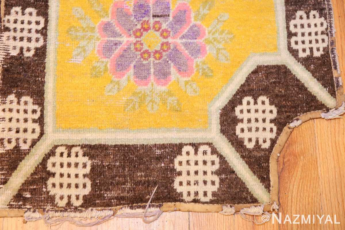 antique saffron yellow chinese saddle rug 47784 corner Nazmiyal