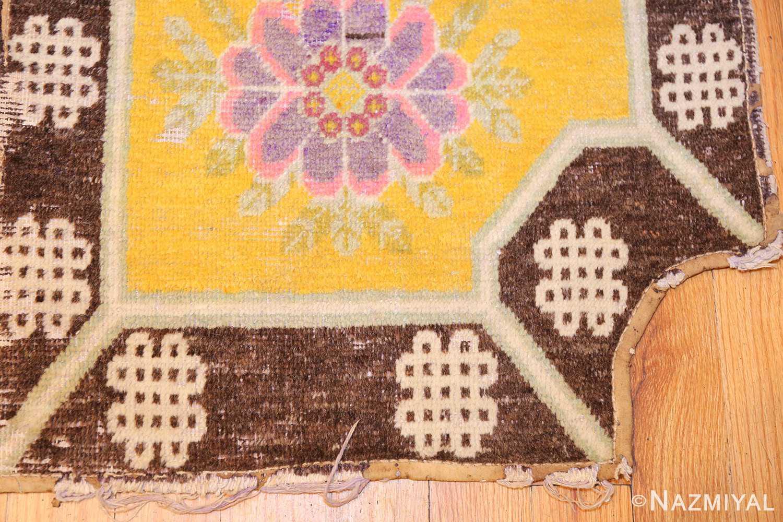 antique saffron yellow chinese saddle rug 47784 corner Nazmiyal
