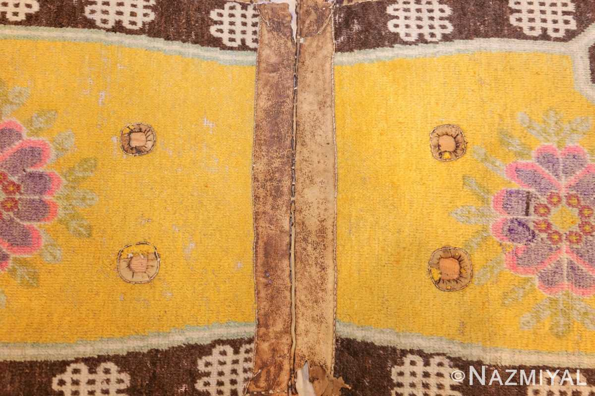 antique saffron yellow chinese saddle rug 47784 design Nazmiyal