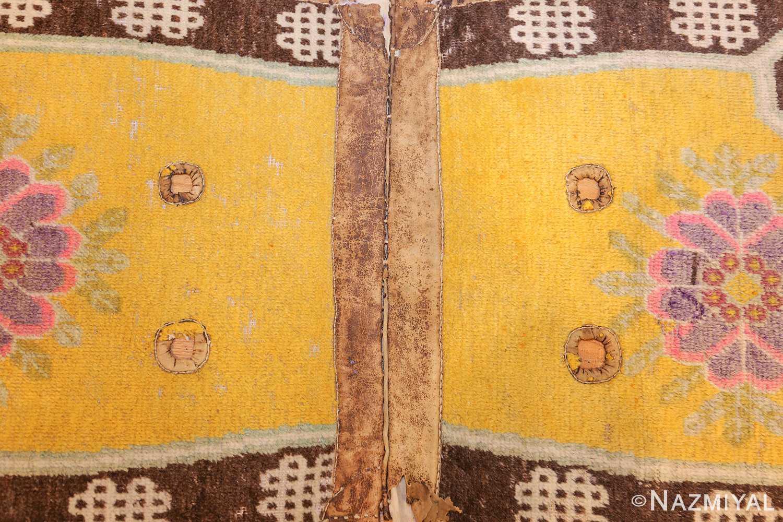 antique saffron yellow chinese saddle rug 47784 design Nazmiyal