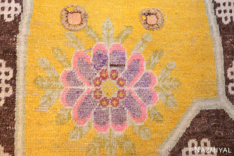 antique saffron yellow chinese saddle rug 47784 flower Nazmiyal
