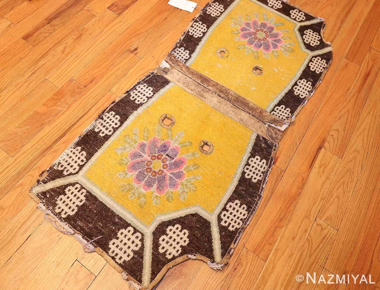 antique saffron yellow chinese saddle rug 47784 side Nazmiyal