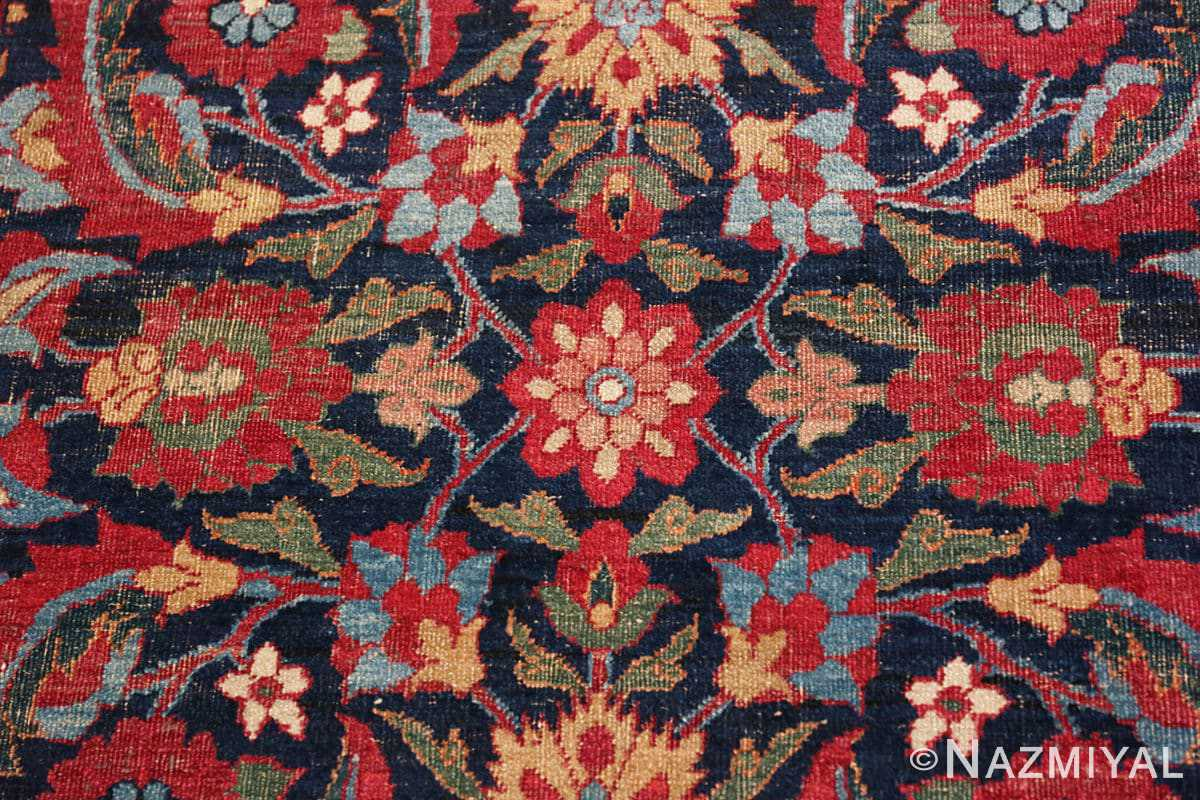 Detail Small Square scatter size Antique Persian Kerman rug 47984 by Nazmiyal
