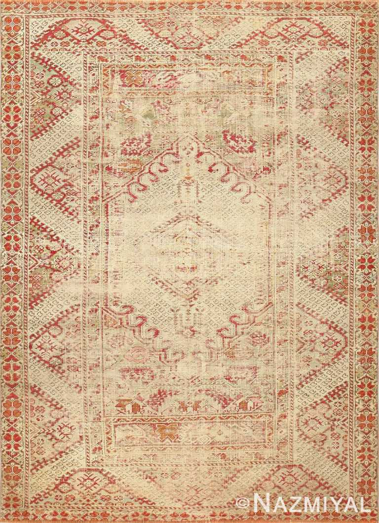 Shabby Chic Antique Turkish Ghiordes Rug 47594 Nazmiyal