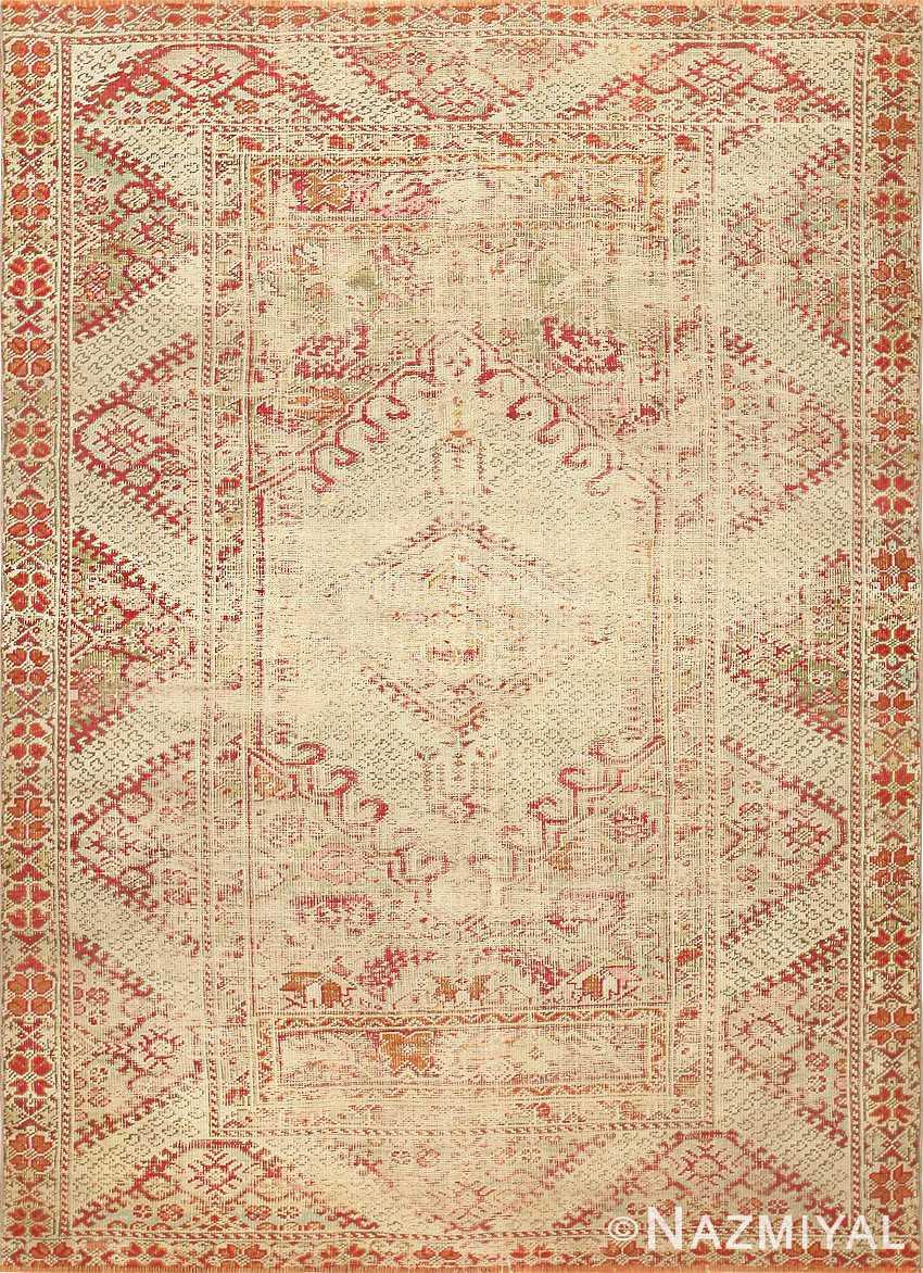 Shabby Chic Antique Turkish Ghiordes Rug 47594 Nazmiyal