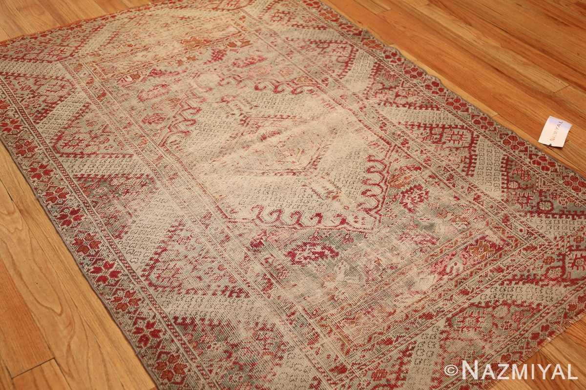 shabby chic antique turkish ghiordes rug 47594 side Nazmiyal