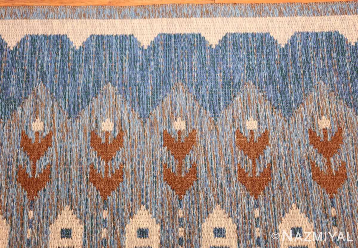 vintage swedish double sided rug 48008 border Nazmiyal