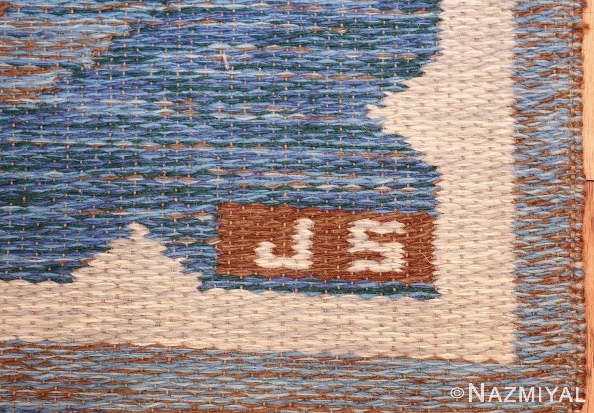vintage swedish double sided rug 48008 initials Nazmiyal