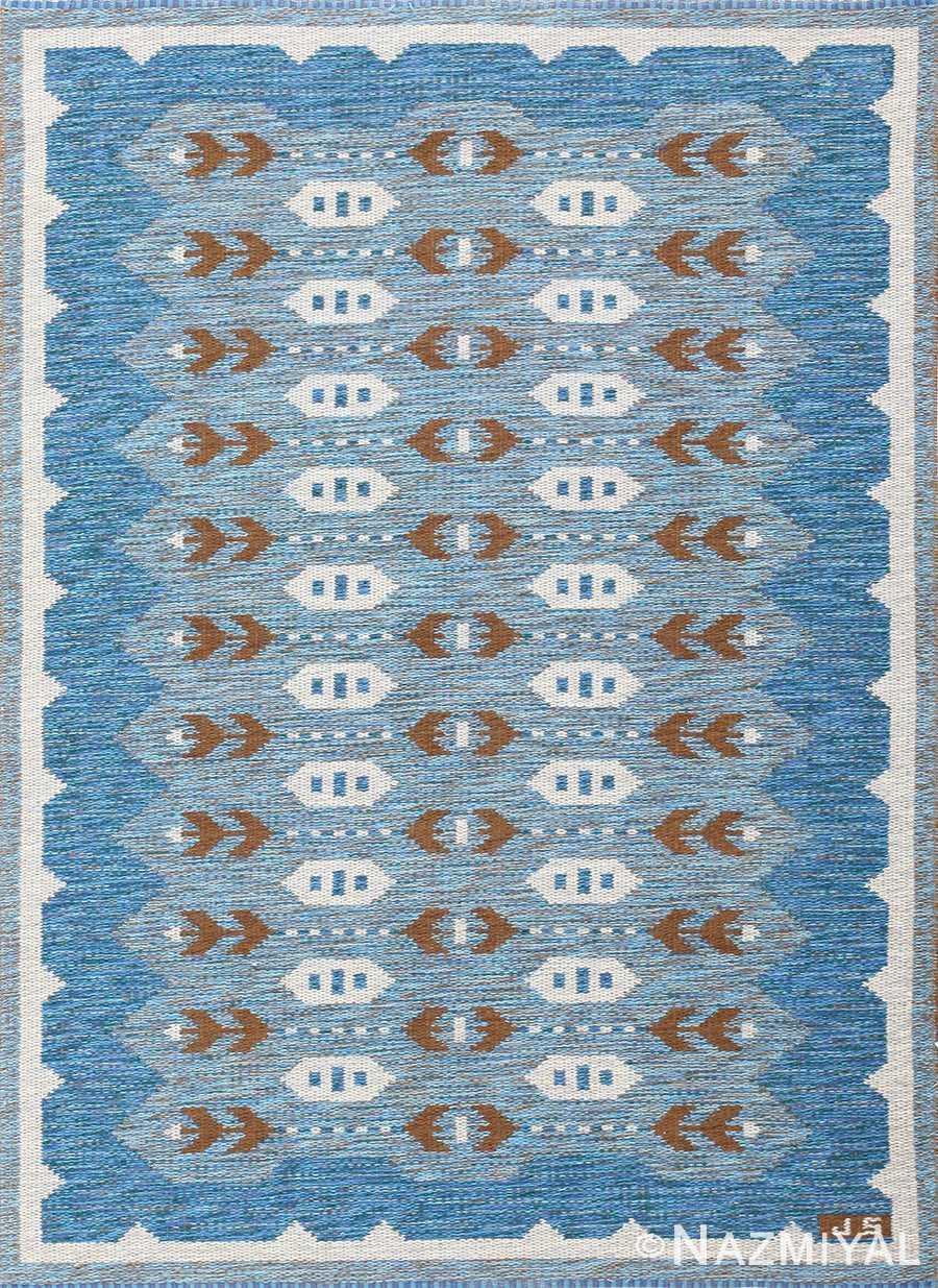 vintage swedish double sided rug 48008 Nazmiyal