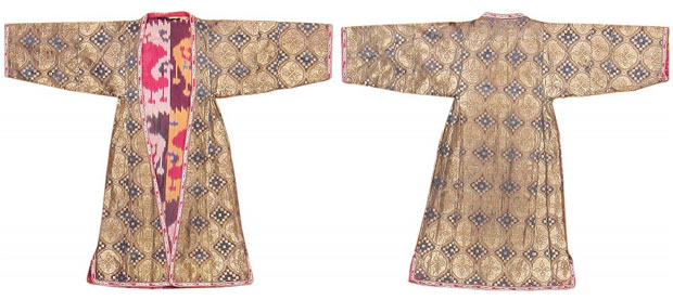Antique Silk & Metallic Thread Uzbek Dress, from the Nazmiyal Collection.