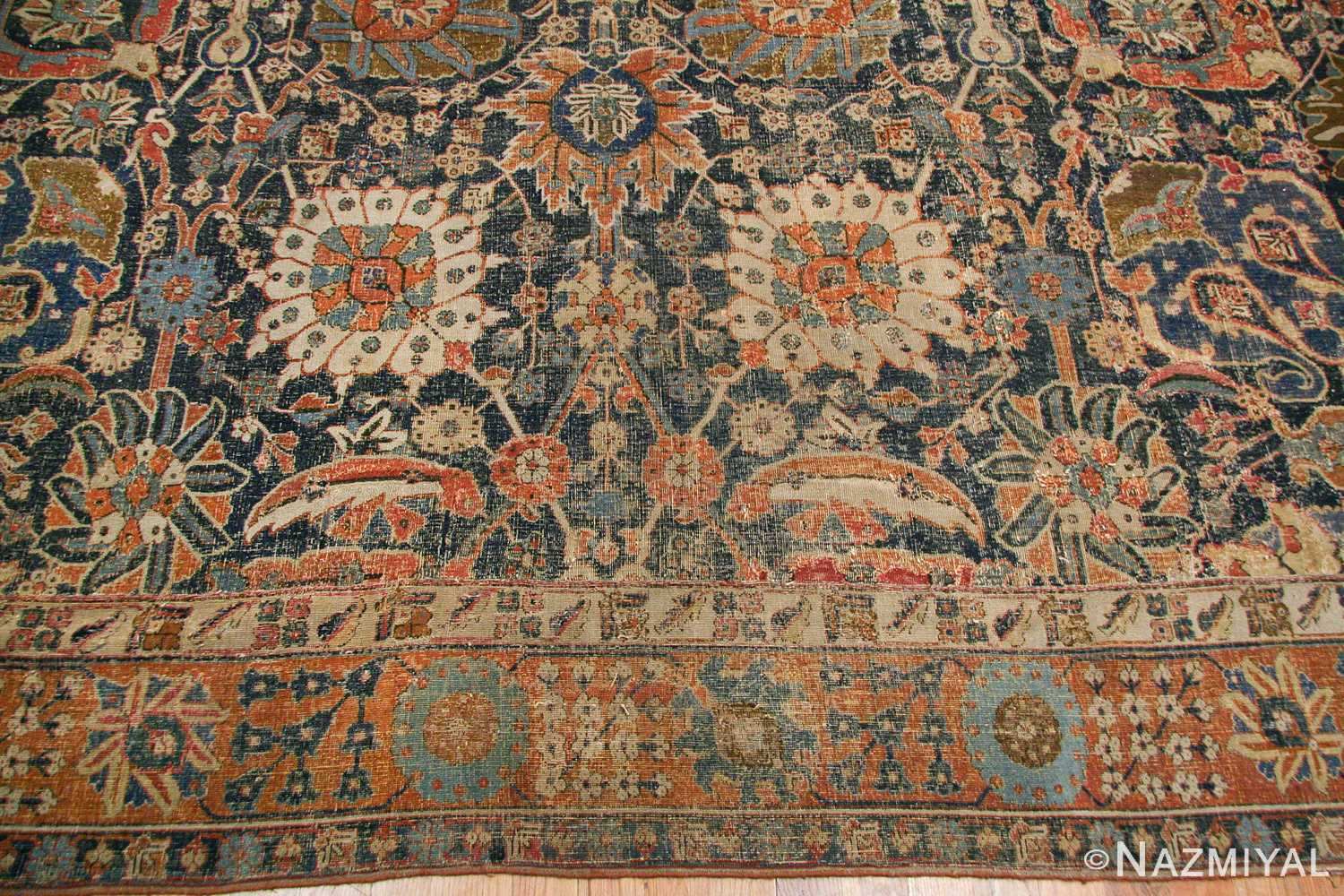 antique 17th century persian vase kerman carpet 45770 border Nazmiyal