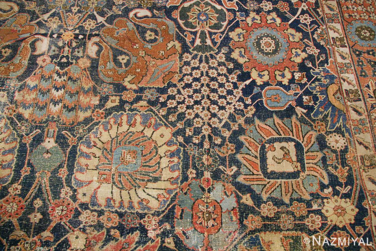 antique 17th century persian vase kerman carpet 45770 white Nazmiyal