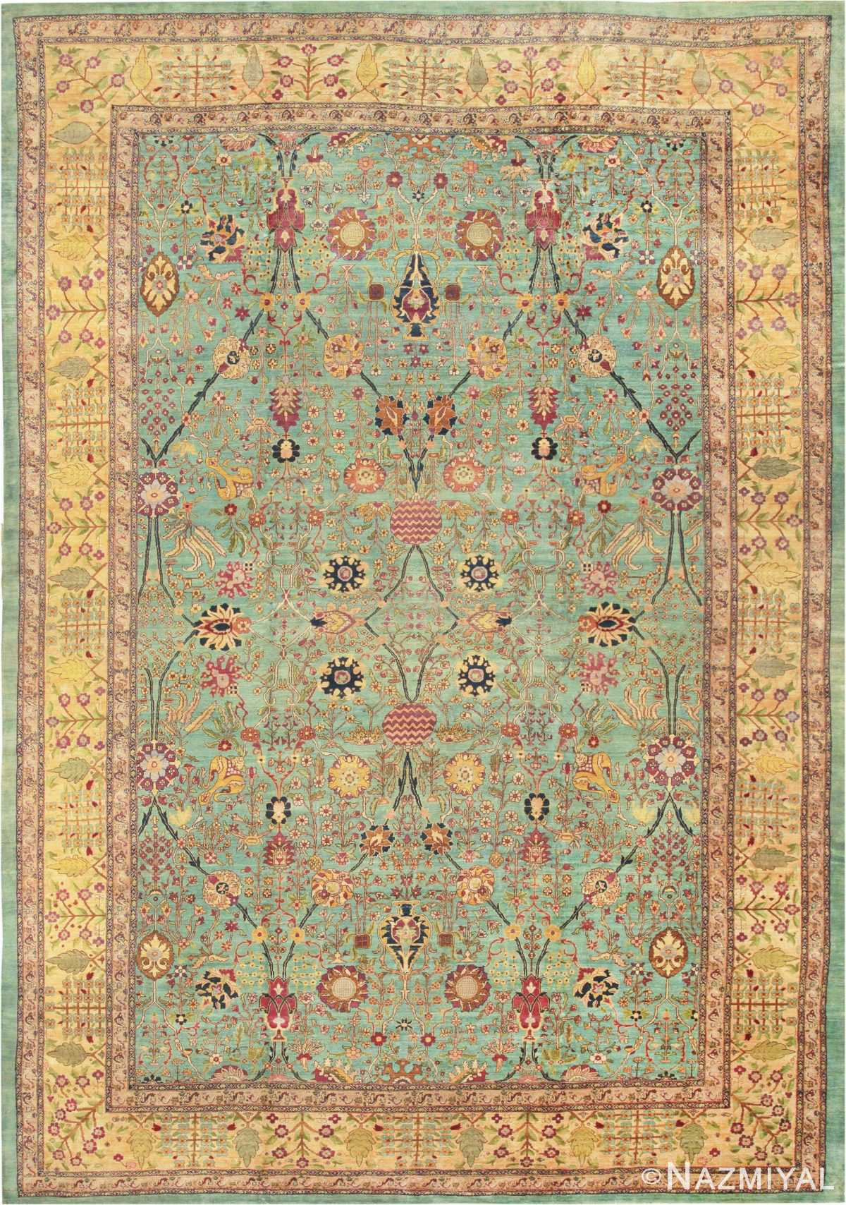 Large Oversized Seafoam Color Antique Indian Agra Rug 40317 by Nazmiyal