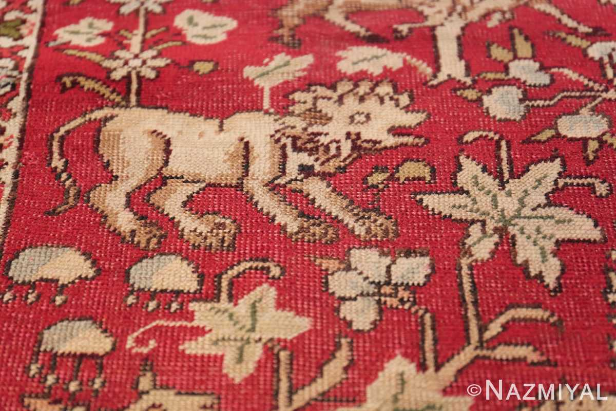 Antique Turkish Keysari Rug 47704 Lion Animal Nazmiyal