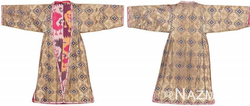 Metallic Silk Antique Uzbek Dress 47508 Nazmiyal