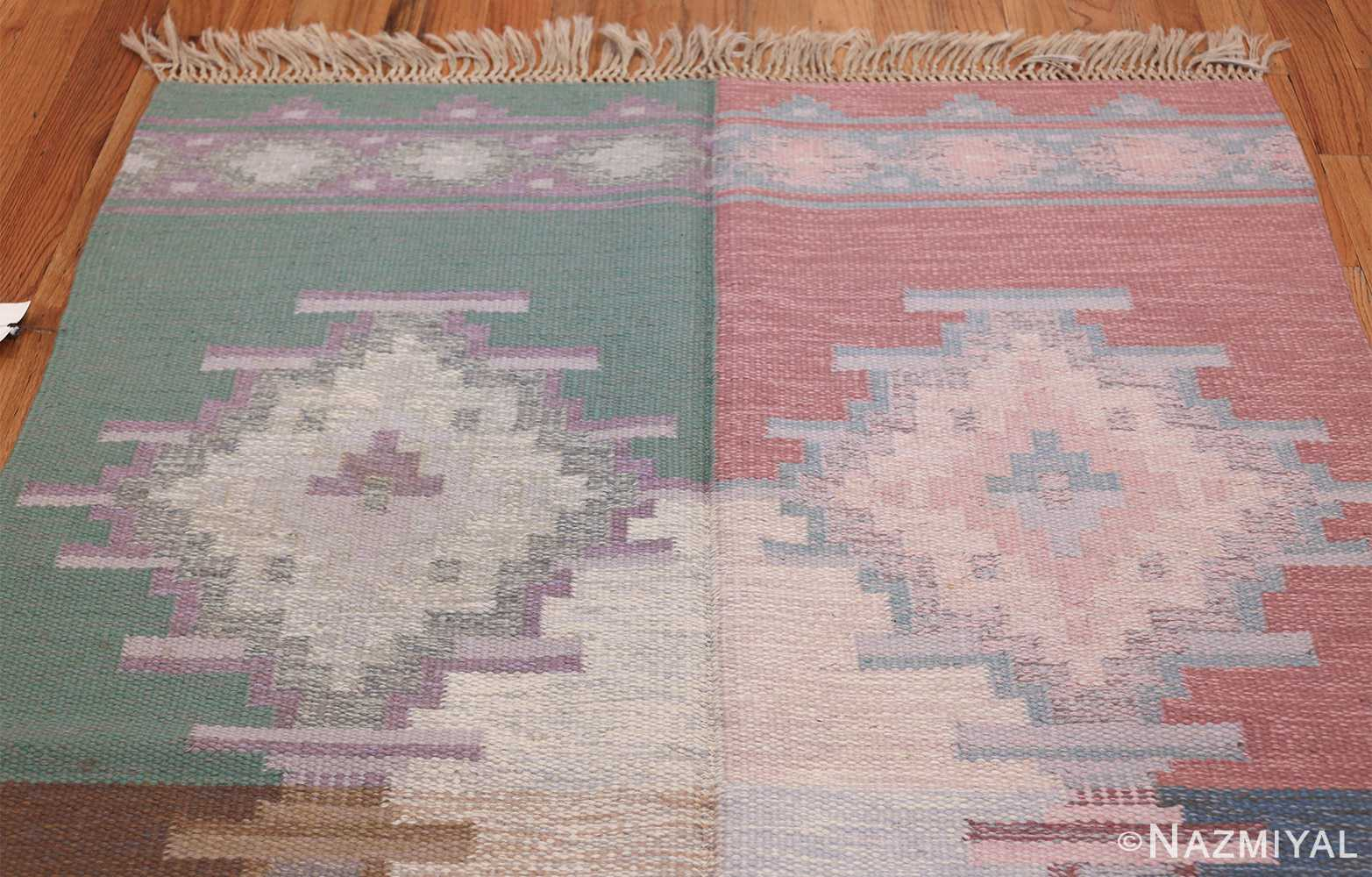 Mid Century Vintage Swedish Flat Woven Kilim Rug 48052 Colorful Top Nazmiyal