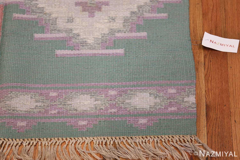 Mid Century Vintage Swedish Flat Woven Kilim Rug 48052 Corner Nazmiyal