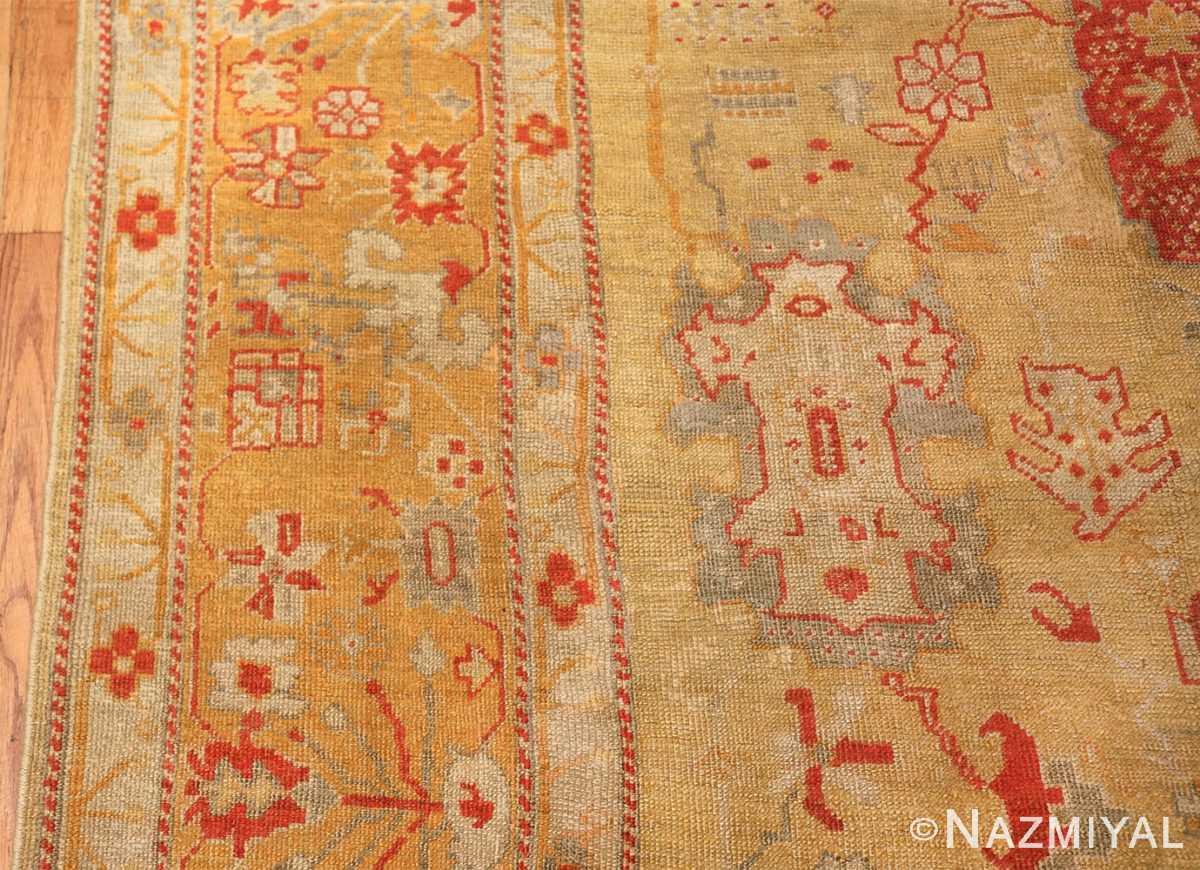 Tribal and Primitive Decorative Antique Turkish Oushak Rug 47260 Border Nazmiyal