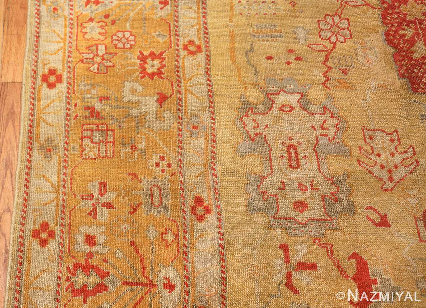 Tribal and Primitive Decorative Antique Turkish Oushak Rug 47260 Border Nazmiyal