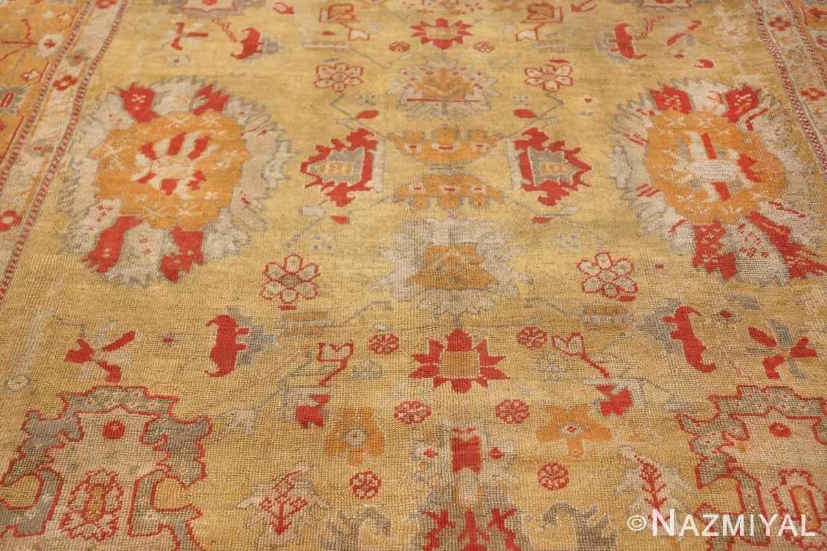 Tribal and Primitive Decorative Antique Turkish Oushak Rug 47260 Central Pattern Nazmiyal