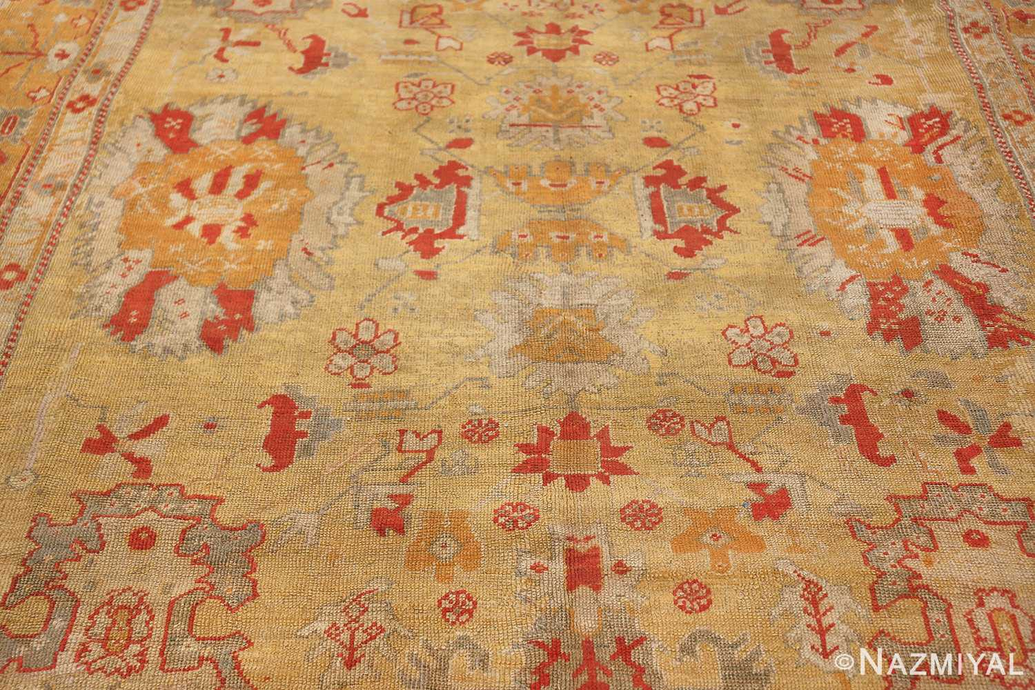 Tribal and Primitive Decorative Antique Turkish Oushak Rug 47260 Central Pattern Nazmiyal