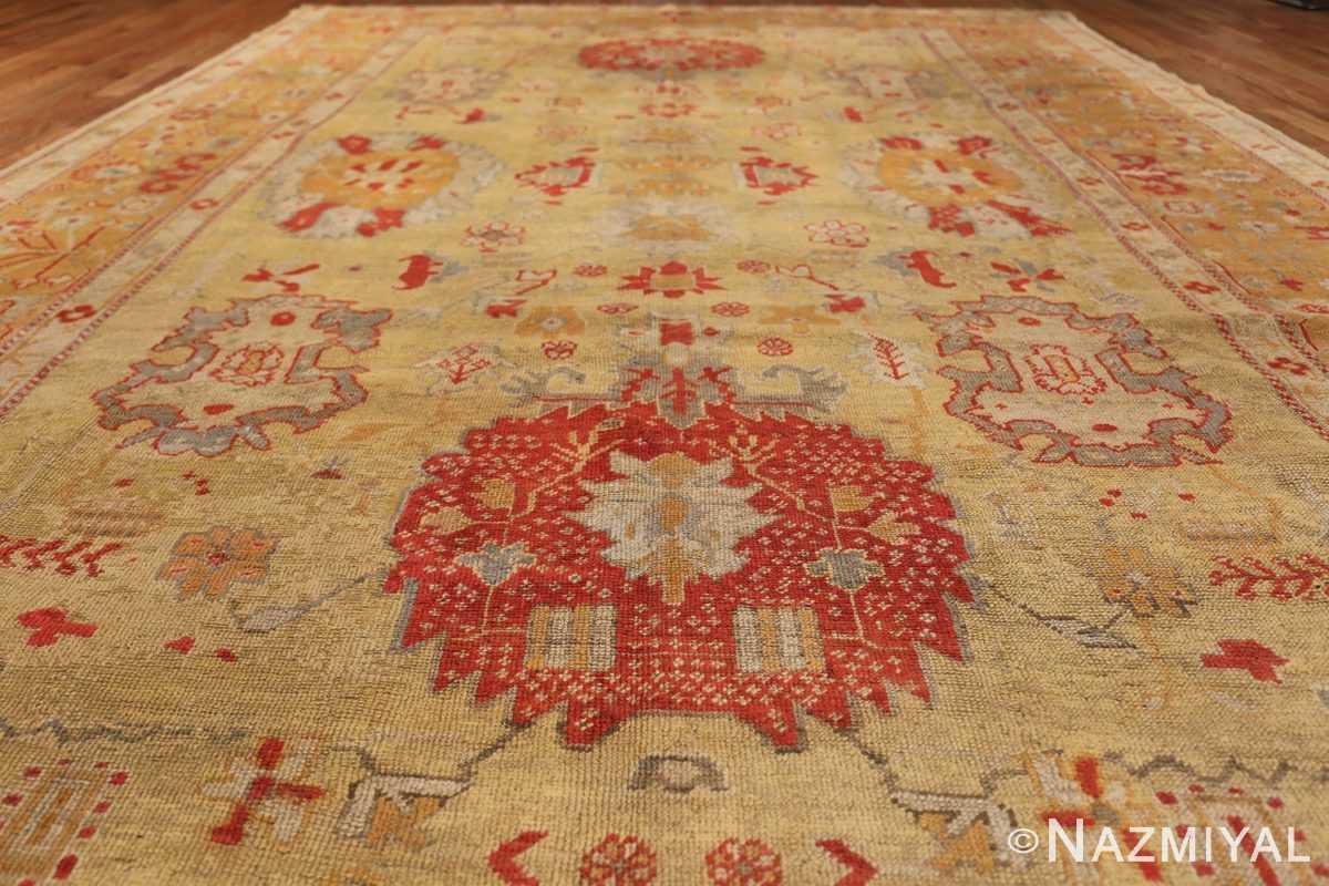Tribal and Primitive Decorative Antique Turkish Oushak Rug 47260 Floral Field Nazmiyal